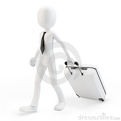 3d man businessman pulling a trolley suitcase