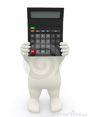 3D man with a calculator