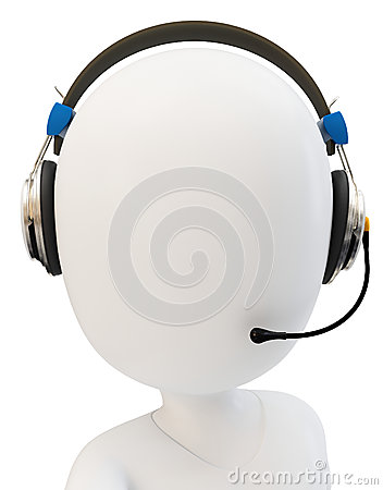 3d man call center support with headphones