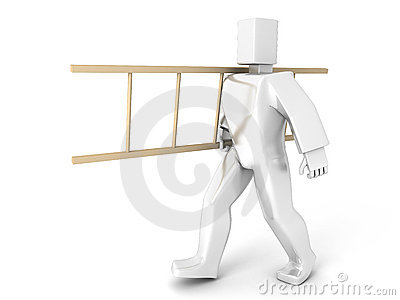 3D Man carry ladder