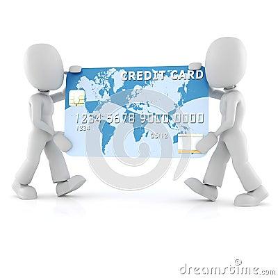 3d man carrying a business card