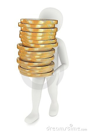 3d man carrying coins