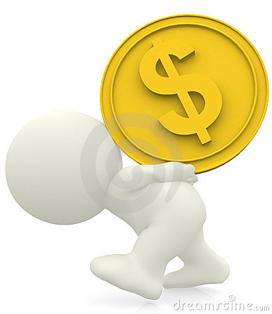 3D man carrying heavy coin