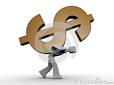 3d man carrying a heavy dollar symbol