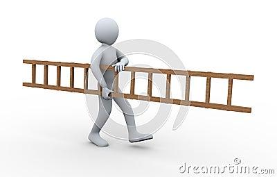 3d man carrying ladder