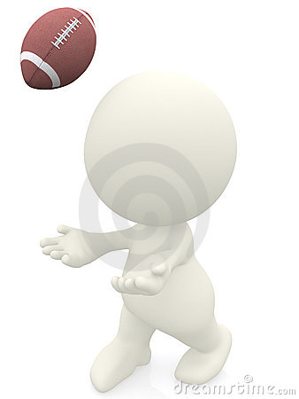 3D man catching a football ball