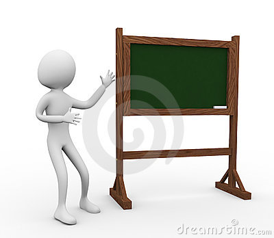 3d man with chalkboard
