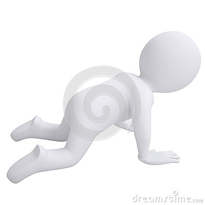 3d man crawling on his knees