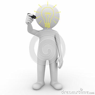 3d man drawing idea lightbulb