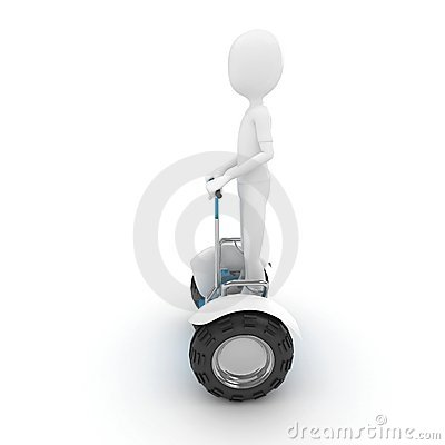 3d man with electric scooter