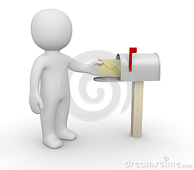 3d man with envelope beside mailbox