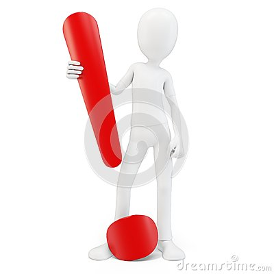 3d man exclamation point
