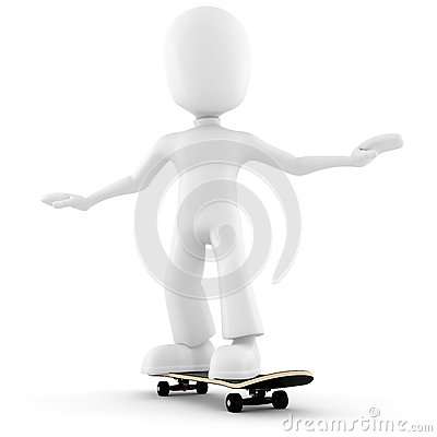 3d man extreme skateboard isolated on white