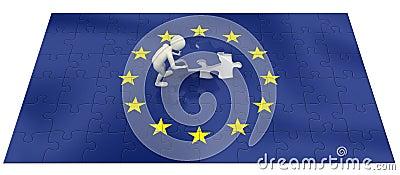 3d man finalizing European Union flag puzzle