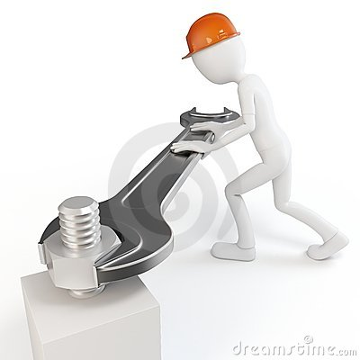 3d man with fork spanner tightening a nut