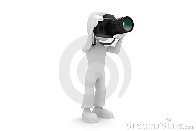 3d man with a foto camera