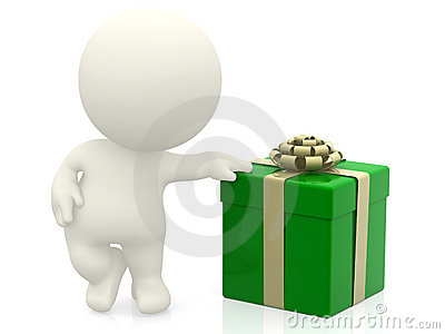 3D man with a gift