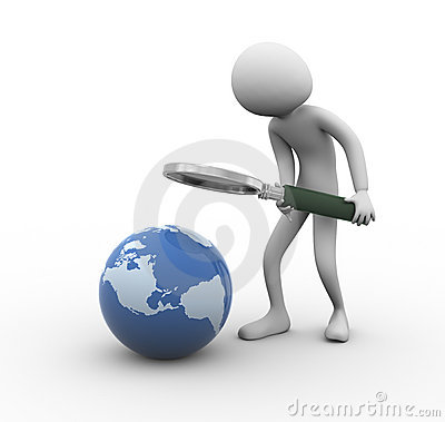 3d man globe searching