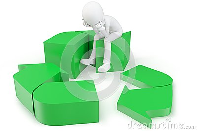 3d man with green recycling symbol
