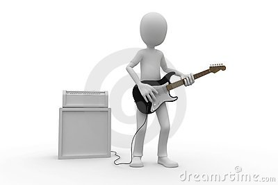 3d man with guitar