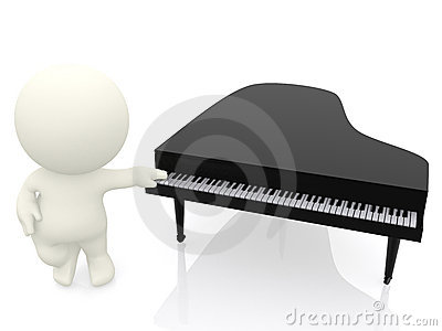 3D man with hand on piano