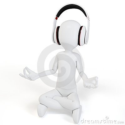 3d man with headphones relaxing