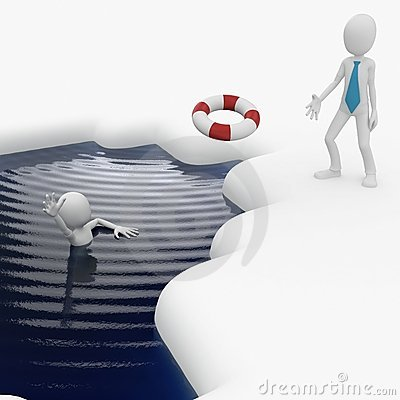 3d man helping drowning friend