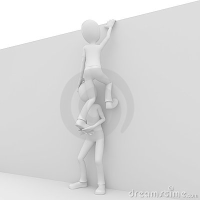 3d man helping friend to climb