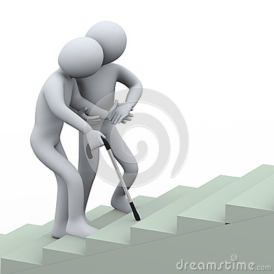 3d man helping old man