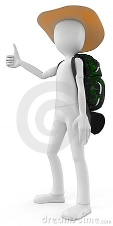 3d man hitcher tourist with a backpack