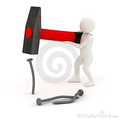 Free 3d Man Hitting And Bending Nail Stock Image - 20550461