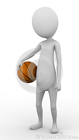 3D man holding a basketball