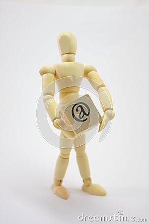 3D Man Holding @ (at) Box.