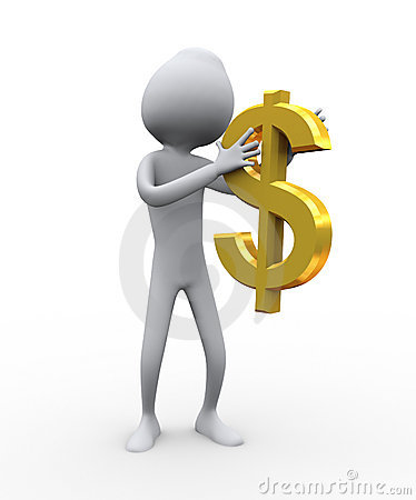 3d Man Holding Dollar Stock Photos - Image: 18859793