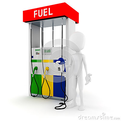 3d man holding a fuel pump