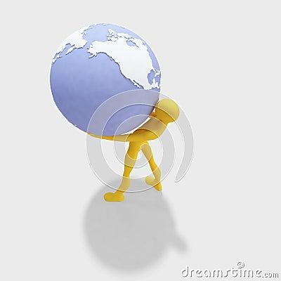 3d man holding globe