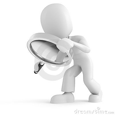 3d man holding a magnifier glass isolated on white