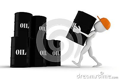 3d man holding an oil barrel