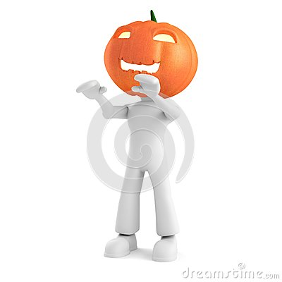 3d man holding a pumpkin on white background