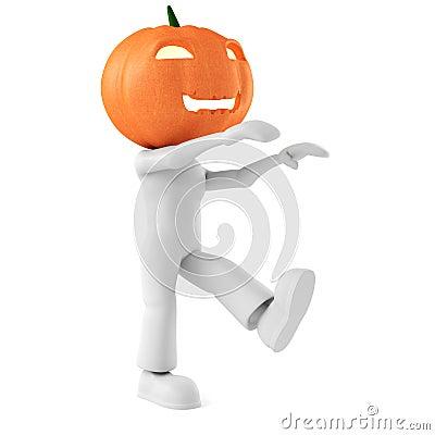 3d man holding a pumpkin on white background
