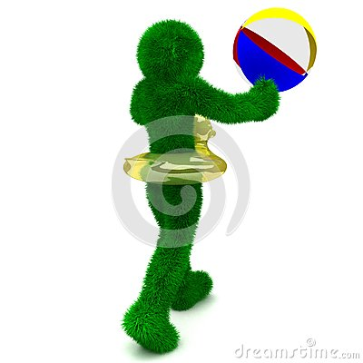 3D man holds the beach ball isolated on white.