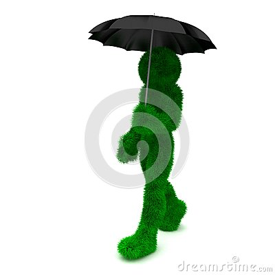 3D man holds an umbrella isolated on white.