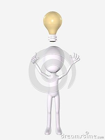 3D Man with Idea Lightbulb
