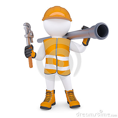 Free 3d Man In Overalls With Screwdriver And Sewer Pipe Royalty Free Stock Image - 32824946