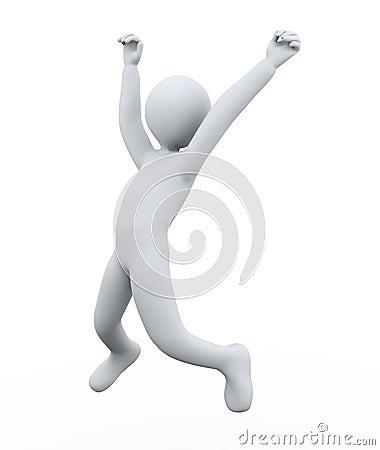 3d man joy jumping