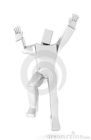 3D Man jumping for joy
