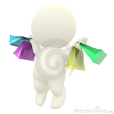 3D man jumping with shopping bags
