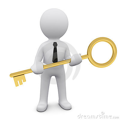 3D man with a key Stock Photo