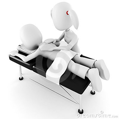 3d man, laying on a massage table