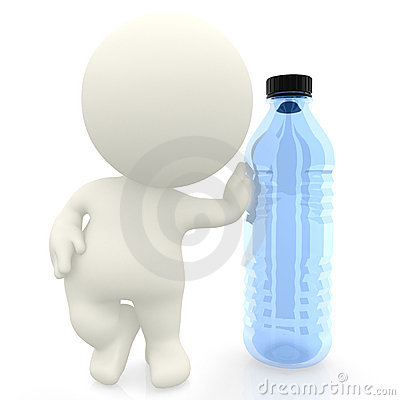 3D man leaning on a bottle